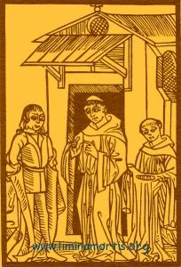 The knight Owen (left side) listens to the list of Purgatory torments from Prior (in the middle). From Le voyage du puys sainct Patrix auquel lieu on voit les peines de Purgatoire et aussi les joyes de Paradis by Claude Noury, Lyon 1506.