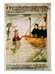 Saint Brendan encounters a siren (German manuscript)